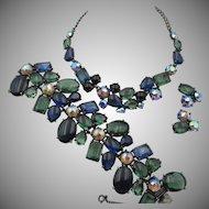 Rare Exquisite Elsa Schiaparelli Glass Wide Bracelet, Necklace, Earring Parure
