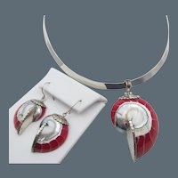 Sterling SIlver Red Resin Shell Pendant Collar Necklace and Pierced Earrings
