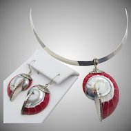 Sterling Red Resin Shell Pendant Collar Necklace and Pierced Earrings