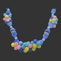 Vintage Czech Blue Glass Colorful Beaded Necklace