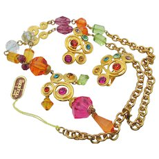 Vintage Carol Dauplaise Colorful Rhinestone Necklace and Earrings - Red Tag Sale Item