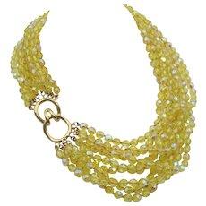 Stunning Nine Strand Ciner Yellow Crystal Torsade Necklace