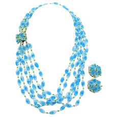 Vintage Signed Vendome Six Strand Crystal Blue Sugar Bead Necklace and Earrings