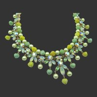 Vintage Signed Kramer Green Rhinestone, Faux Pearl, and Resin Collar Necklace