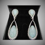 Vintage Signed Faceted Gemstone Drop Clip Earrings