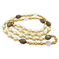 Vintage Miriam Haskell Faux Pearl Beaded Opera Length Necklace