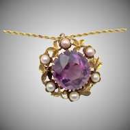 Vintage 15k Gold Amethyst Pendant Brooch on GF Chain