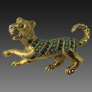 Vendome by Gene Veri Gold Plated Crouching Lion Brooch - Book Piece