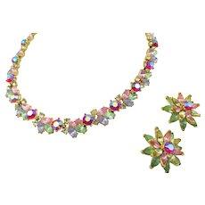 Vintage Crown Trifari Pastel Rhinestone Necklace and Earrings