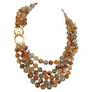 Vintage Ciner Crystal Torsade Necklace