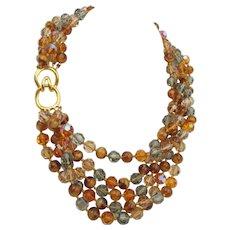 Vintage Ciner Crystal Torsade Necklace