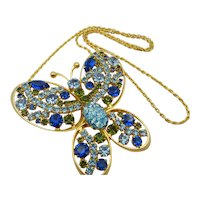 Vintage  Alice Caviness Blue Green Butterfly Rhinestone Necklace