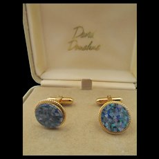 Estate David Donahue Gold over Sterling Blue Mosaic Cufflinks