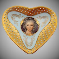 Vintage Ardalt Hand Painted Portrait Heart Shaped Vanity Dish