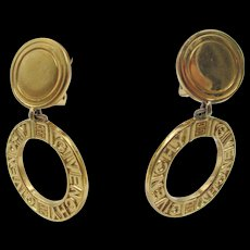 Vintage Signed Givenchy Hoop Clip Earrings