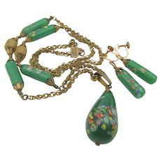 Vintage Miriam Haskell Murano Art Glass Necklace and Earrings