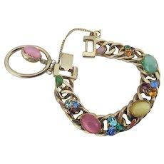 Vintage Kafin NY Moonstone Pastel Charm Bracelet