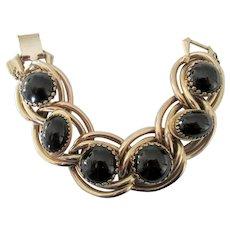 Vintage Kafin NY Black Cabochon Link Bracelet