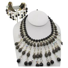 Vintage Trifari Glass Bib Necklace and Earrings