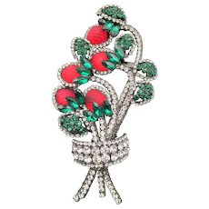 "Huge 7"" Chris Crouch Moans Couture Strawberry Rhinestone Brooch/Pendant"