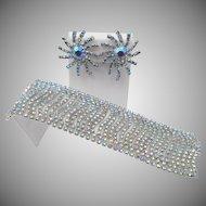 Vintage Light Sapphire Blue Aurora Borealis Rhinestone Bracelet and Earring