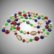 "Estate Jewel Tone Glass Beaded 36"" Necklace"