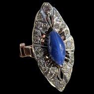 Antique Edwardian Blue Star Sapphire Diamond 14k Gold Filigree Ring
