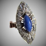 Antique Edwardian Blue Star Sapphire Diamond 14k Gold Filigree Ring