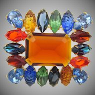 Gorgeous Vintage Czech Multi Colored Marquise Rhinestone Brooch