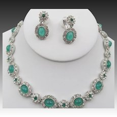 Vintage Signed Ciner Flawed Emerald Rhinestone Necklace and Drop Earrings