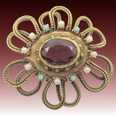 Vintage Accessocraft Purple Rhinestone  with Turquoise Beads Brooch