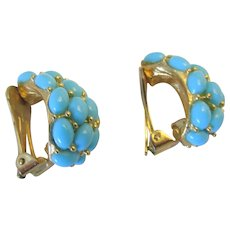 Vintage KJL Kenneth Jay Lane Faux Turquoise Half Hoop Earrings