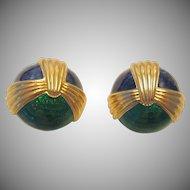 Vintage European Guilloche Enamel Domed Clip Earrings
