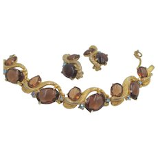 Vintage Signed Schiaparelli Topaz Cabochon Bracelet and Matching Earrings
