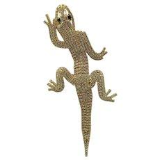 Vintage Rhinestone Chameleon Lizard Brooch