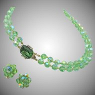 Vintage Hattie Carnegie Green AB Crystal Necklace and Earrings
