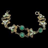 Vintage Czech Brass, Glass and Enamel Bracelet