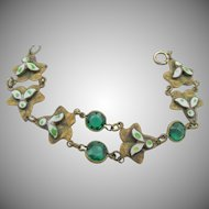 Vintage Czech Brass, Glass and Enamel Bracelet