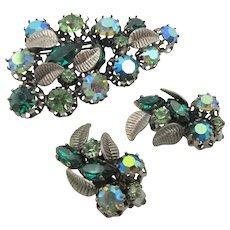 Vintage Signed Austria Green  Rhinestone Brooch and Earrings