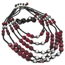 Vintage Hobe Five Strand Black and Red Art Glass Necklace and climber earrings