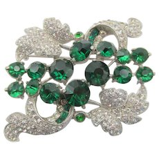 Beautiful Vintage Staret Emerald Green Rhinestone Brooch