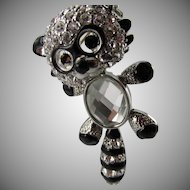 Butler & Wilson Reticulated Rhinestone Raccoon Brooch in Original Box