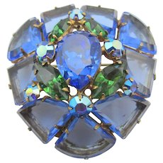 Gorgeous Signed Regency Blue Pie Shaped Glass Brooch