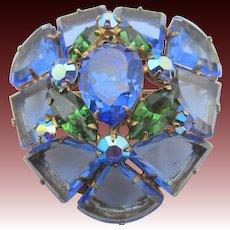 Gorgeous Signed Regency Blue Pie Shaped Glass Brooch