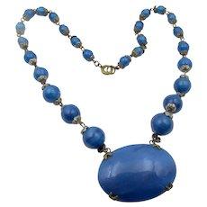 Vintage Czech Blue Glass Beaded Necklace