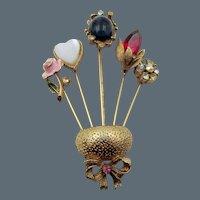 Vintage Coro Five Stickpin Brooch