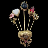 Vintage Coro Five Stickpin Brooch