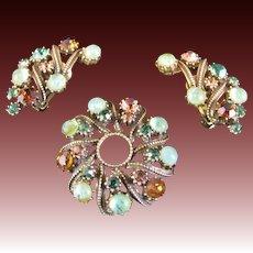 Vintage Florenza Flawed Emerald and Topaz Rhinestone Brooch and Earrings