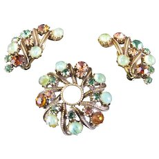 Vintage Florenza Flawed Emerald and Topaz Rhinestone Brooch and Earrings