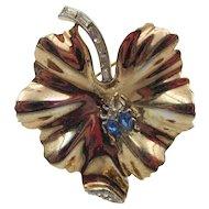 1940s Crown Trifari Leaf with Rhinestone Beetle Brooch Pin